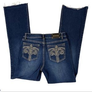 TRU LUXE Jeans Rhinestone Pockets Frayed Hem 28/6